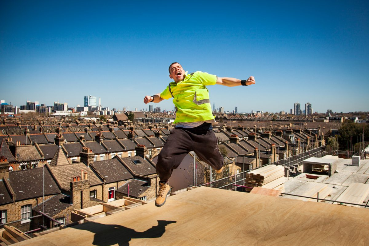 Happy and smiling builder