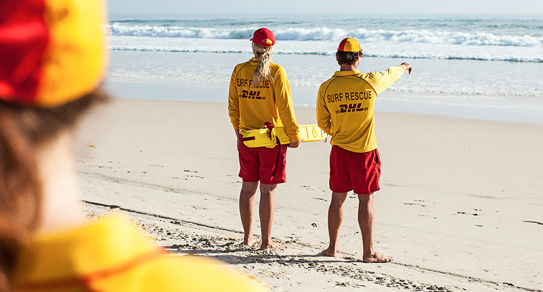 Surf life savers at the beach.