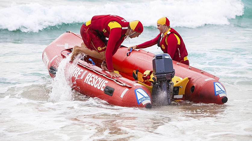 Surf Life Savers in a rescue boat.