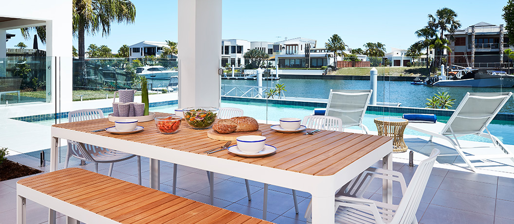 One of two outdoor pavilions overlooking pool at Bribie Island Mater Prize Home