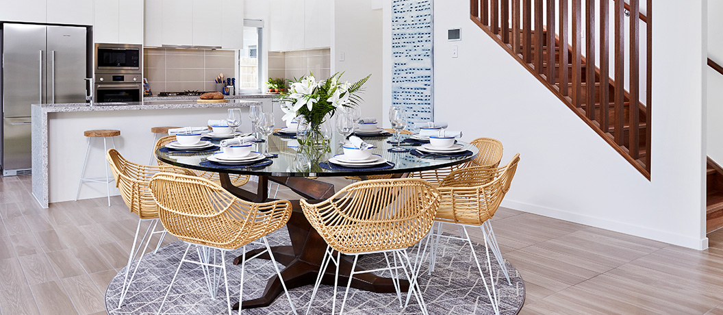 Designer kitchen and dining room in Mater Prize Home