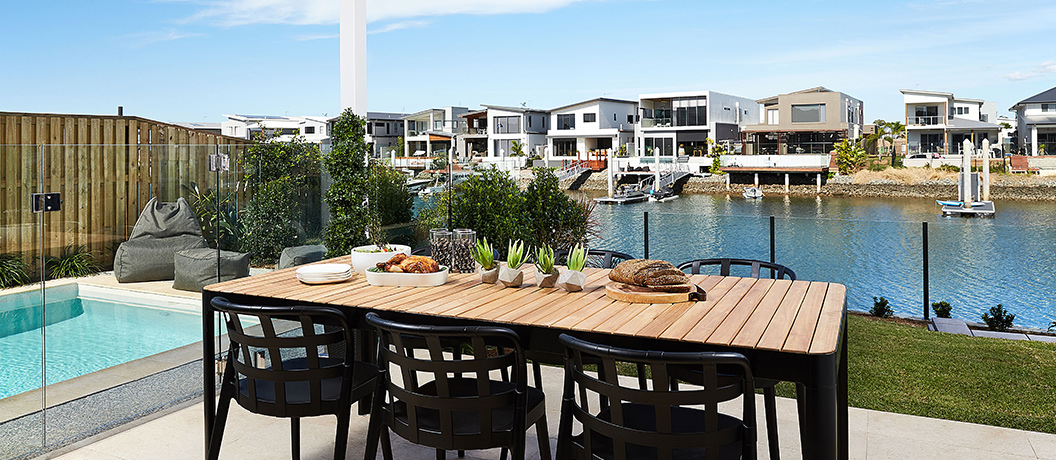 Mater Prize Home Lottery alfresco dining area and pool overlooking the canal.