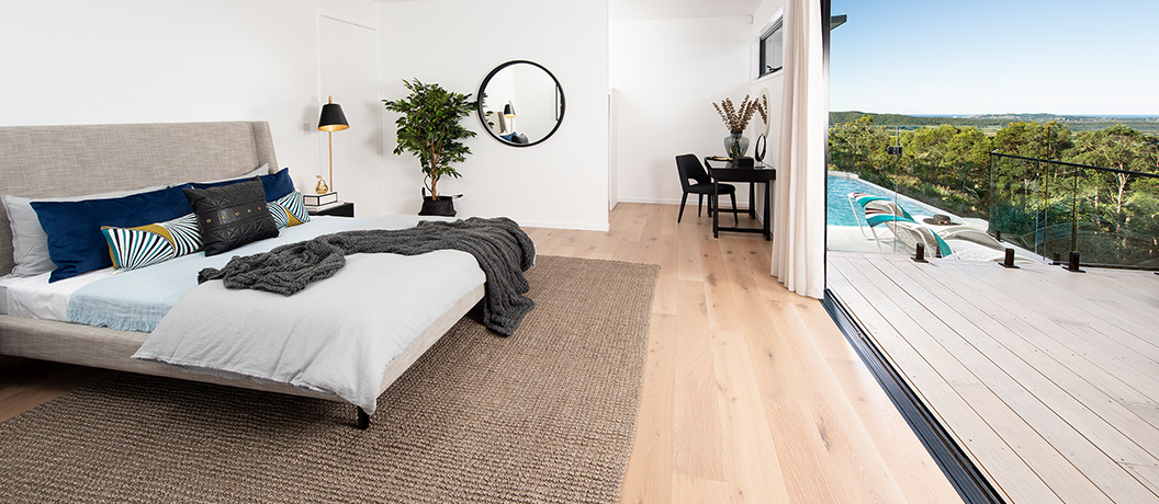 Master bedroom and balcony from the Endeavour Prize Home draw 417.