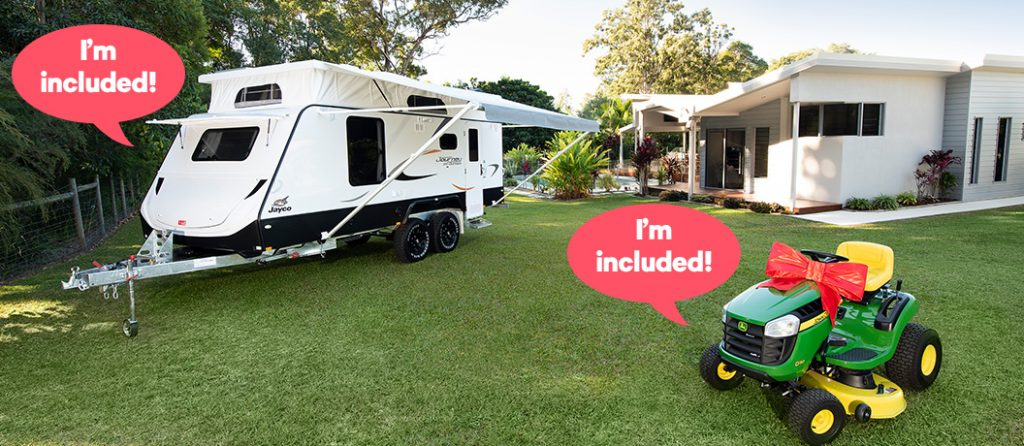 Win a Jayco caravan valued at $46,500 and John Deer Ride on Mower valued at $2,799 - Endeavour Lottery Prize.