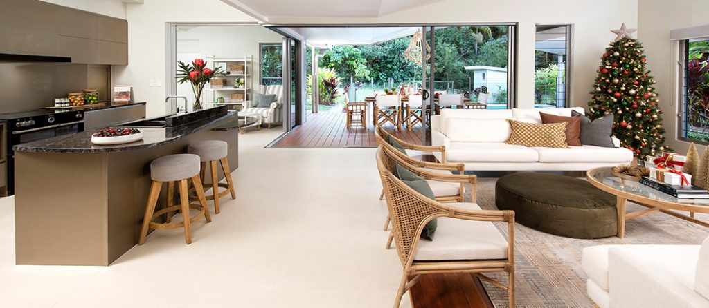 Open plan kitchen, living and dining with outdoor alfresco area.