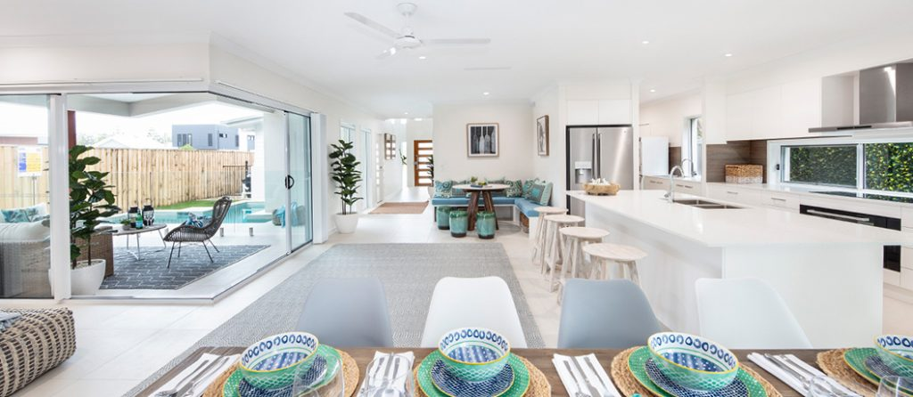 Kitchen, dining, living open-plan spaces