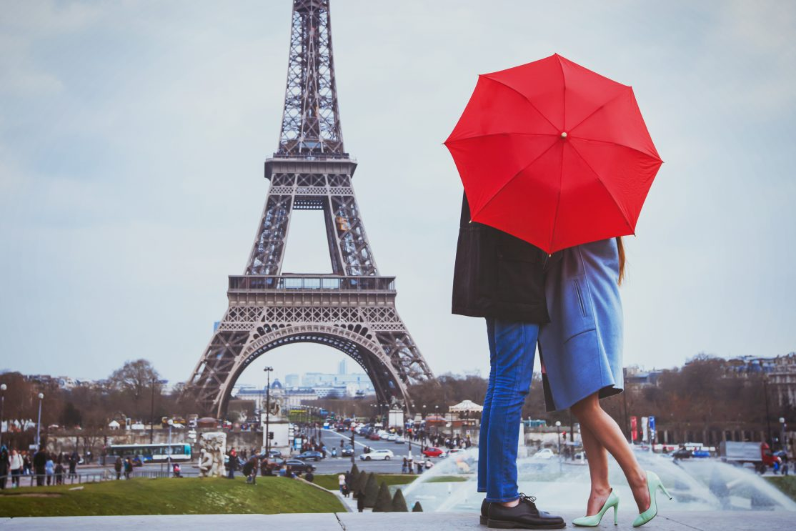 Couple in front of Eiffel Tower, France